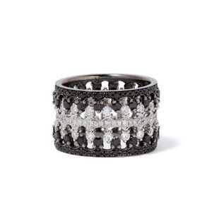 Annoushka Crown Interlaced Black Diamond Ring Stack in 18ct White Gold