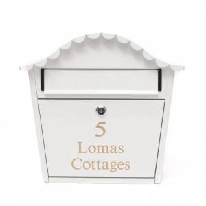 London White Letterbox - personalised with your address