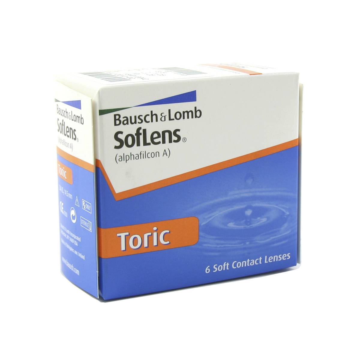 Bausch & Lomb Soflens Toric (6 Contact Lenses), Bausch & Lomb, Toric Monthly Lenses for Astigmatism, Alphafilcon A