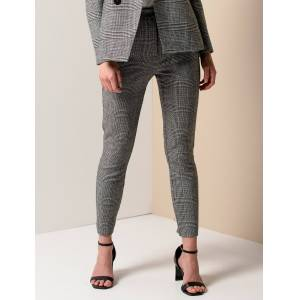 Forever New Women's Lorna Check Straight Leg Pants in Grey Check, Size 6 Acrylic/Polyester/Wool