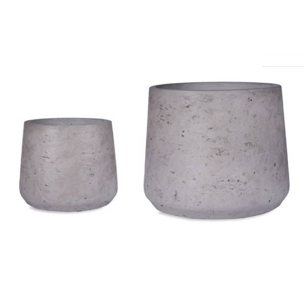 Garden Trading Set of 2 Stratton Tapered Plant Pots in Stone Cement. Garden Trading