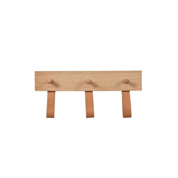Garden Trading Kelson 3 Peg Oak Rail with Natural Leather Loops Garden Trading
