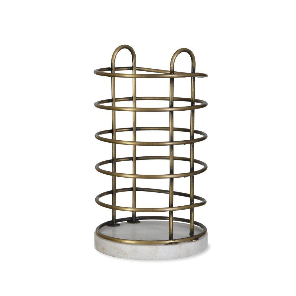 Garden Trading Brompton Utensil Holder in Antique Brass Finish Crafted Wirework and Marble Garden Trading