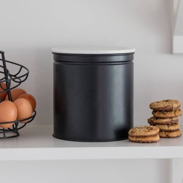 Garden Trading Brompton Biscuit Tin With Marble Lid in Crafted Carbon Steel Finish Garden Trading