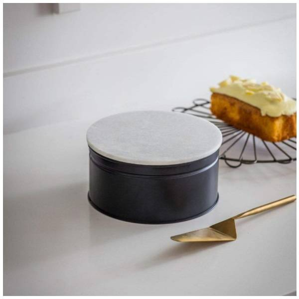 """Garden Trading Brompton Cake Tin with Marble Lid Crafted in Steel Carbon Finish 8"""" 20cm Garden Trading"""