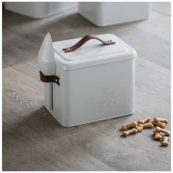 Garden Trading Pet Bin Food Storage with Scoop and Leather Handles Crafted Steel in Carbon Finish Small Garden Trading