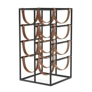 Menu - Umanoff wine rack for 8 bottles, steel black (RAL 9005) / leather brown