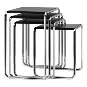 Thonet - B 9 Nesting Table Set, chrome / black (RAL 9005)