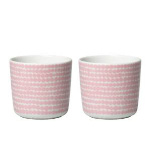 Marimekko - Oiva siirtolapuutarha cup (set of 2) 200 ml, white / pink