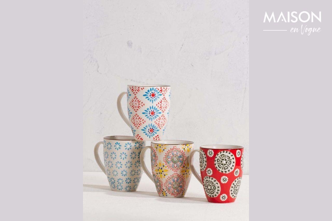 Chehoma Set of 4 Bohemian mugs