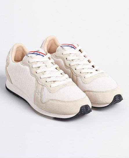 SUPERDRY Retro Logo Runner Trainers in White (Size: 3)