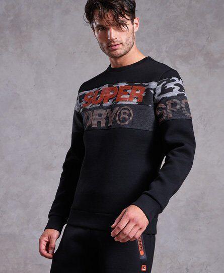 Superdry Gym Tech Cut Crew Sweatshirt in Black (Size: L)