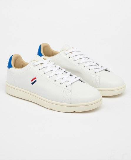 Superdry Vintage Tennis Trainers in White (Size: 10)