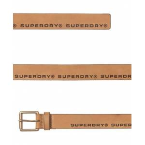 Superdry Edge Logo Leather Belt in Brown (Size: S)