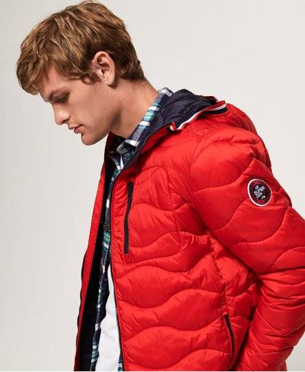 Superdry Wave Quilt Jacket in Red (Size: XL)
