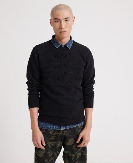 SUPERDRY Sweat Shirt Shop Embossed Crew Neck Sweatshirt in Black (Size: S)
