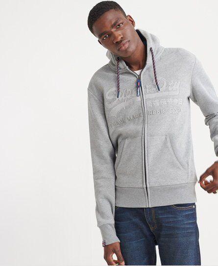 Superdry Downhill Racer Applique Zip Hoodie in Grey (Size: XXXL)