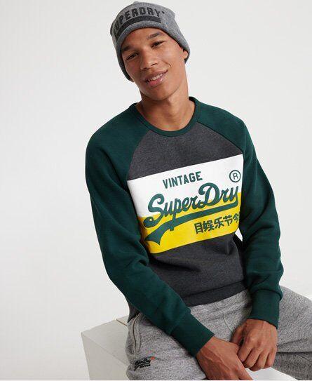 Superdry Vintage Logo Colourblock Sweatshirt in Dark Grey (Size: XXL)