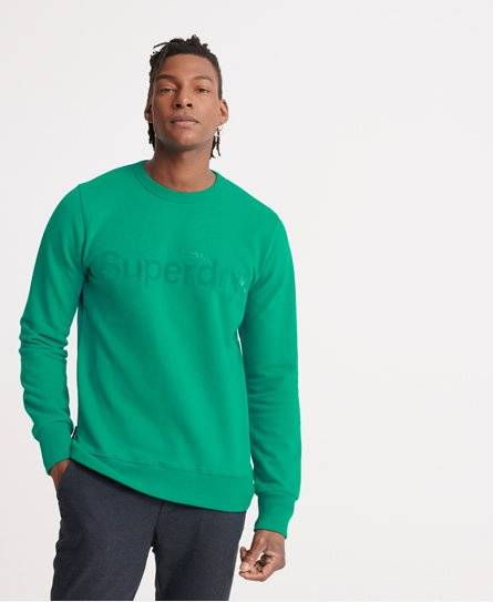 Superdry Core Logo Faux Suede Loopback Sweatshirt in Turquoise (Size: M)