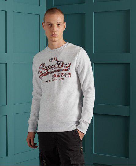 SUPERDRY Vintage Logo Brushed Sweatshirt in Light Grey (Size: S)