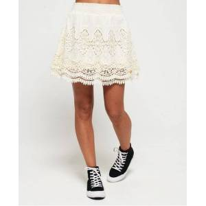 Superdry Amanda Lace Skirt in Cream (Size: 14)