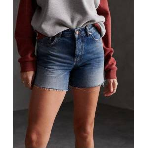 Superdry Denim Mid Length Shorts in Gold (Size: 24)