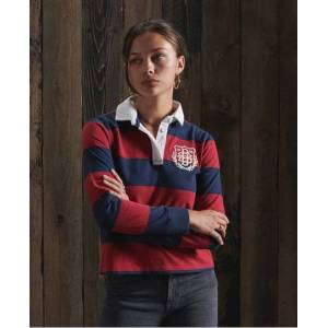 Superdry Boston Striped Rugby Top in Red (Size: 10)
