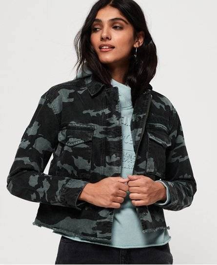 SUPERDRY Riley Cropped Rookie Jacket in Green (Size: 16)