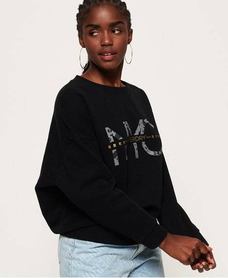 Superdry Jade Slouchy Crew Sweatshirt in Black (Size: 6)