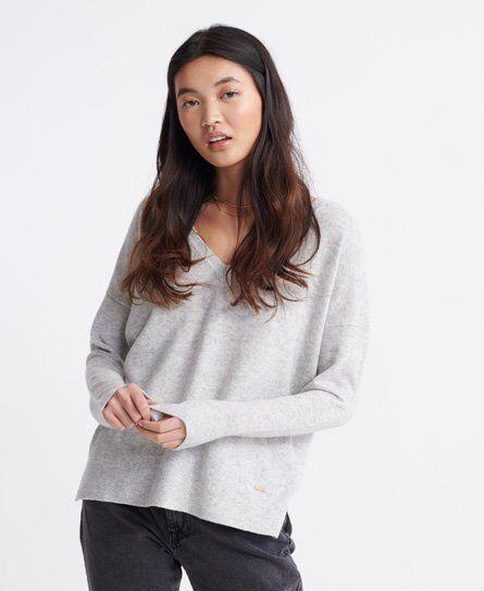 Superdry Edit V-Neck Premium Knitted Jumper in Grey (Size: 6)