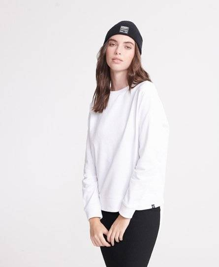 Superdry Organic Cotton Standard Label Loopback Sweatshirt in White (Size: 18)