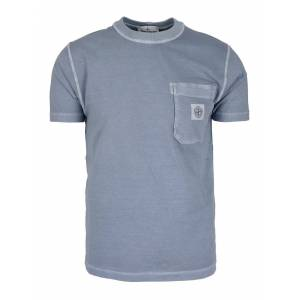 Stone Island Logo Patch T-Shirt In Light Blue - Light Blue - Size: Extra Large