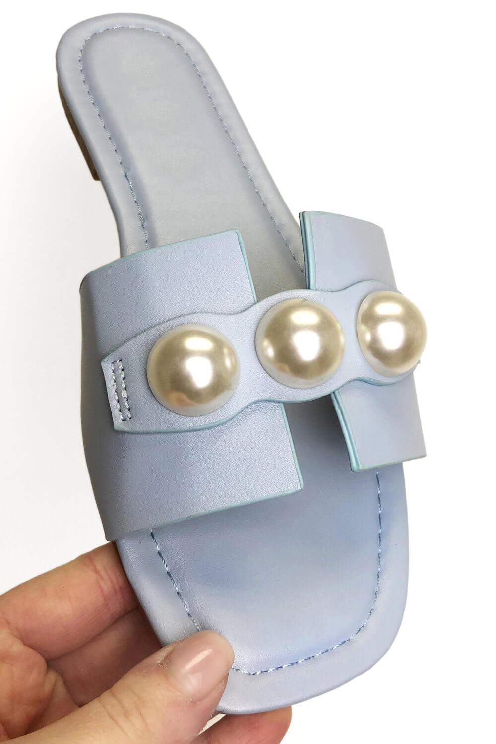 Roman Originals Pearl Detail Sliders Sandals