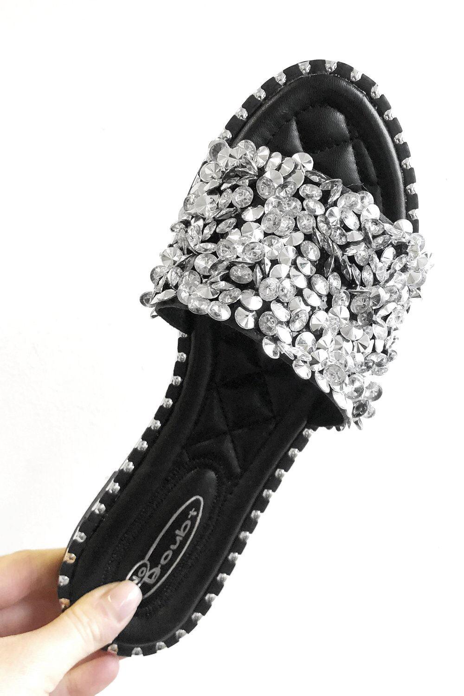 Roman Originals Embellished Flat Slider Sandals