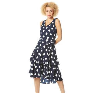 Roman Originals Spot Frill Tiered Belted Dress