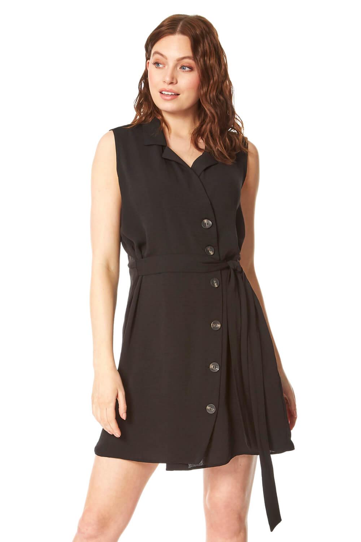 Roman Originals Side Button Wrap Dress