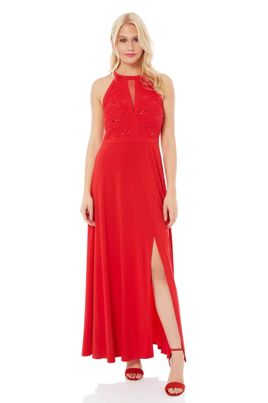 Roman Originals Lace Body Keyhole Dress