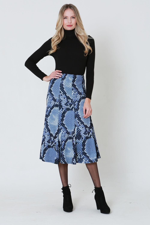 Julianna Snake Print Midi Skirt