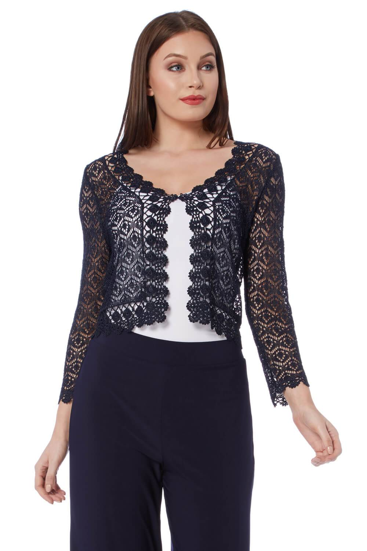 Roman Originals 3/4 Sleeve Crochet Shrug