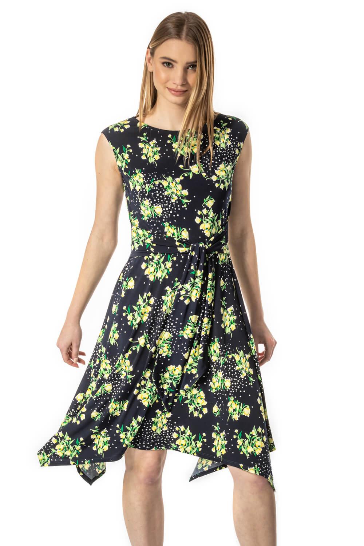 Roman Originals Hanky Hem Spot Floral Dress