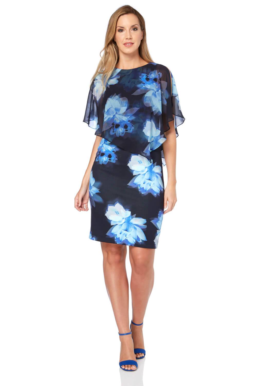 Roman Originals Chiffon Layer Floral Print Scuba Dress