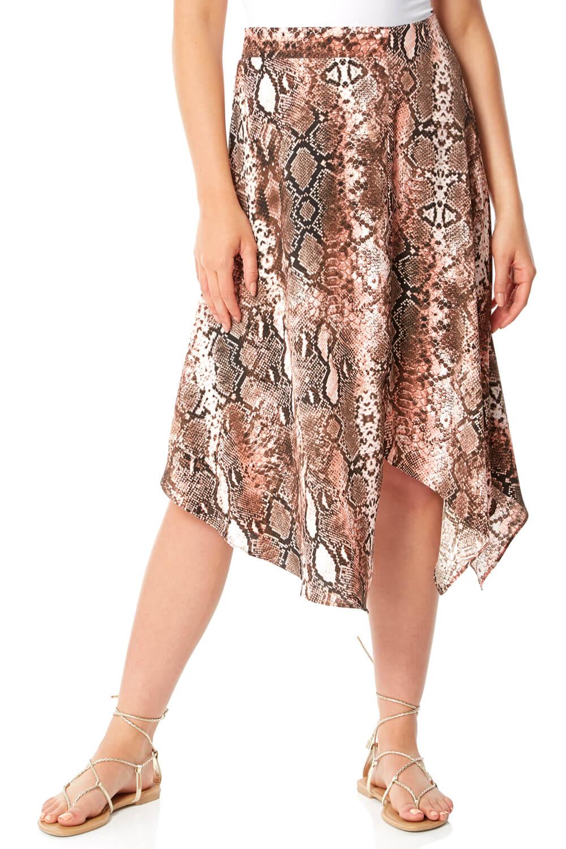 Roman Originals Asymmetric Snake Print Skirt
