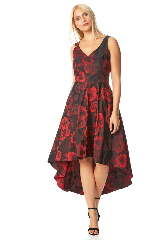Roman Originals Rose Print Dipped Hem Dress