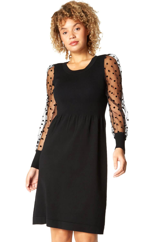 Roman Originals Flock Spot Sleeve Knitted Dress