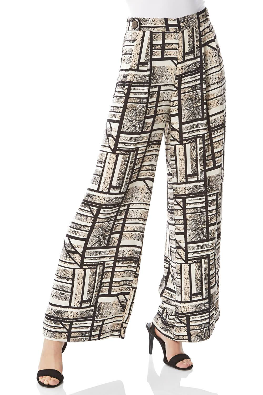 Roman Originals Mixed Stripe Snake Print Trousers