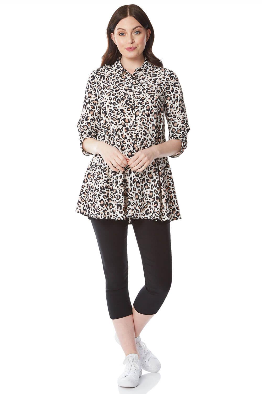 Roman Originals Leopard Print Tunic Blouse