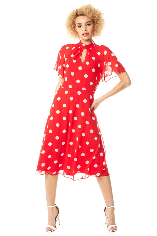 Roman Originals High Neck Spot Midi Dress