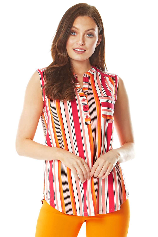 Roman Originals Stripe Print Sleeveless Shirt