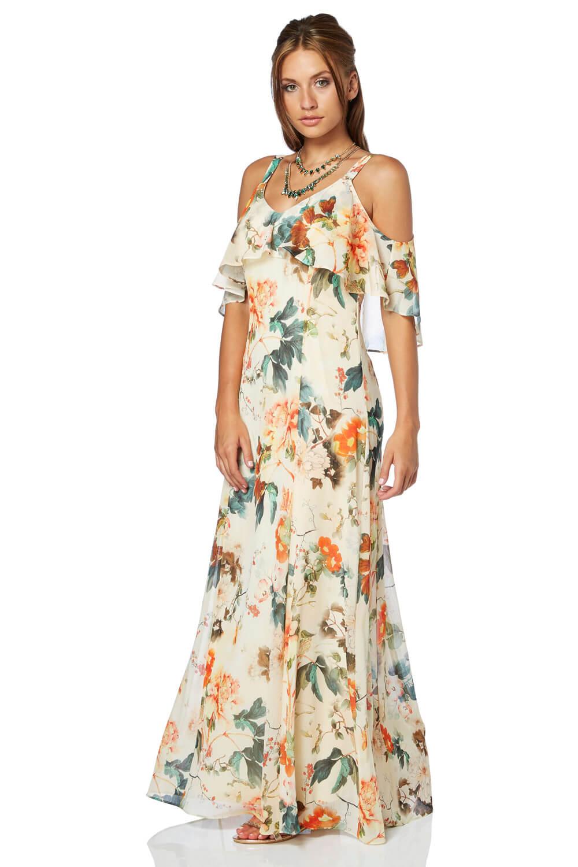 Roman Originals Oriental Cold Shoulder Chiffon Maxi Dress