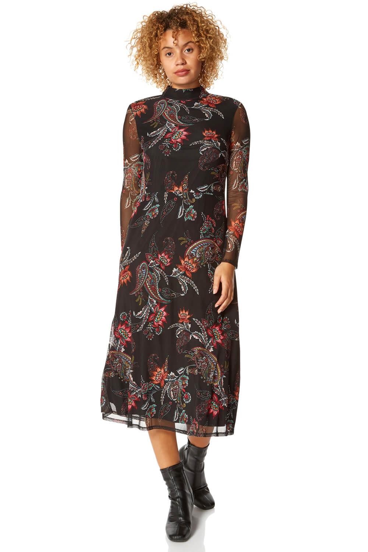 Roman Originals Mixed Print High-Neck Midi Dress